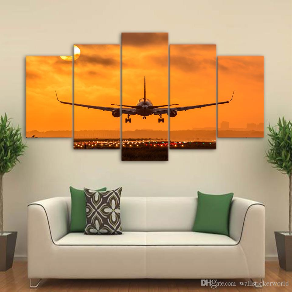 Sunset Airplane Take Off Landscape Canvas Wall Art Home Decor For Living Room Poster HD Printed Picture Painting