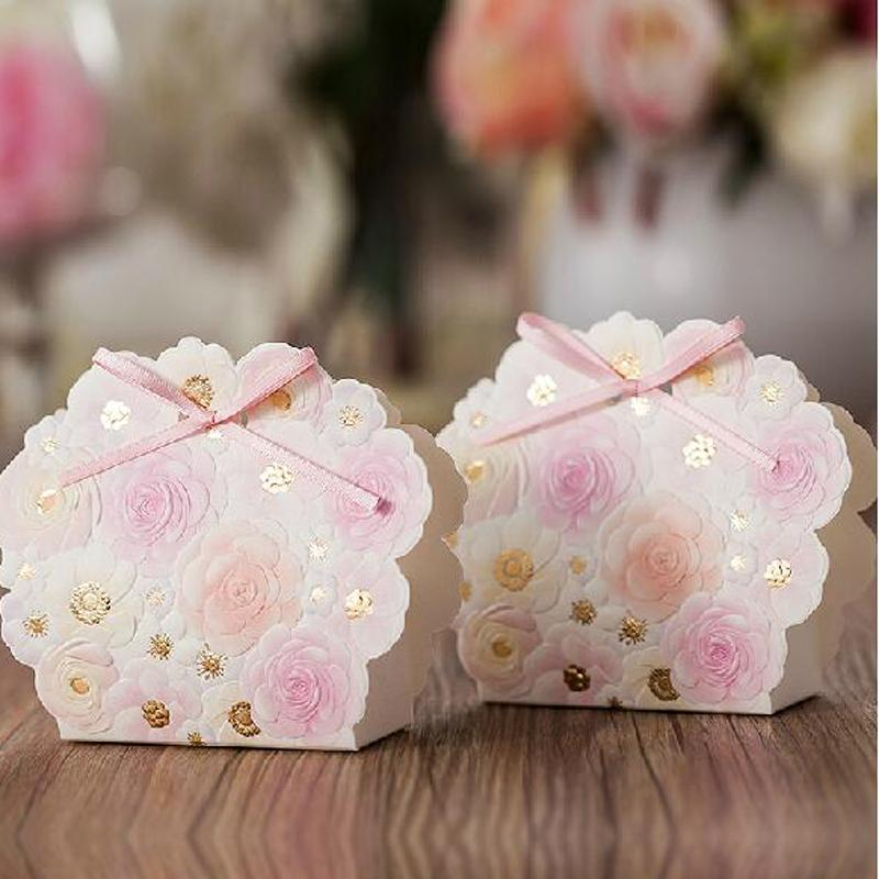 Wedding Reception Card Box Favor Gifts Bag Elegant White Luxury Decoration Flower Laser Cut Party Sweet Paper Candy Box