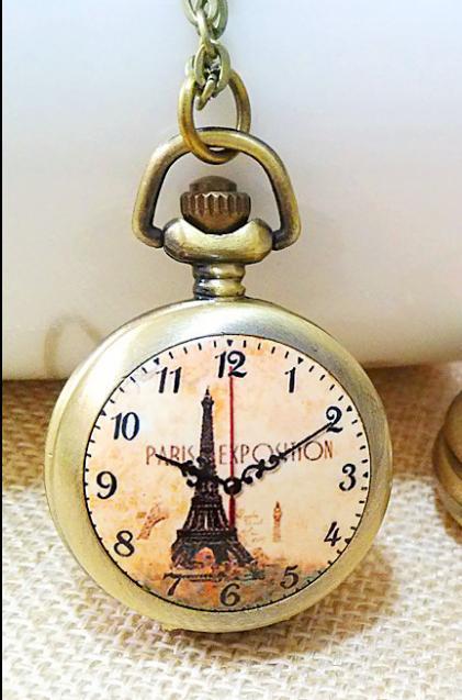 Старинные бронзовые мода кварц дизайн очаровательный Эйфелева башня эмаль дети студенты ожерелье цепь карманные часы