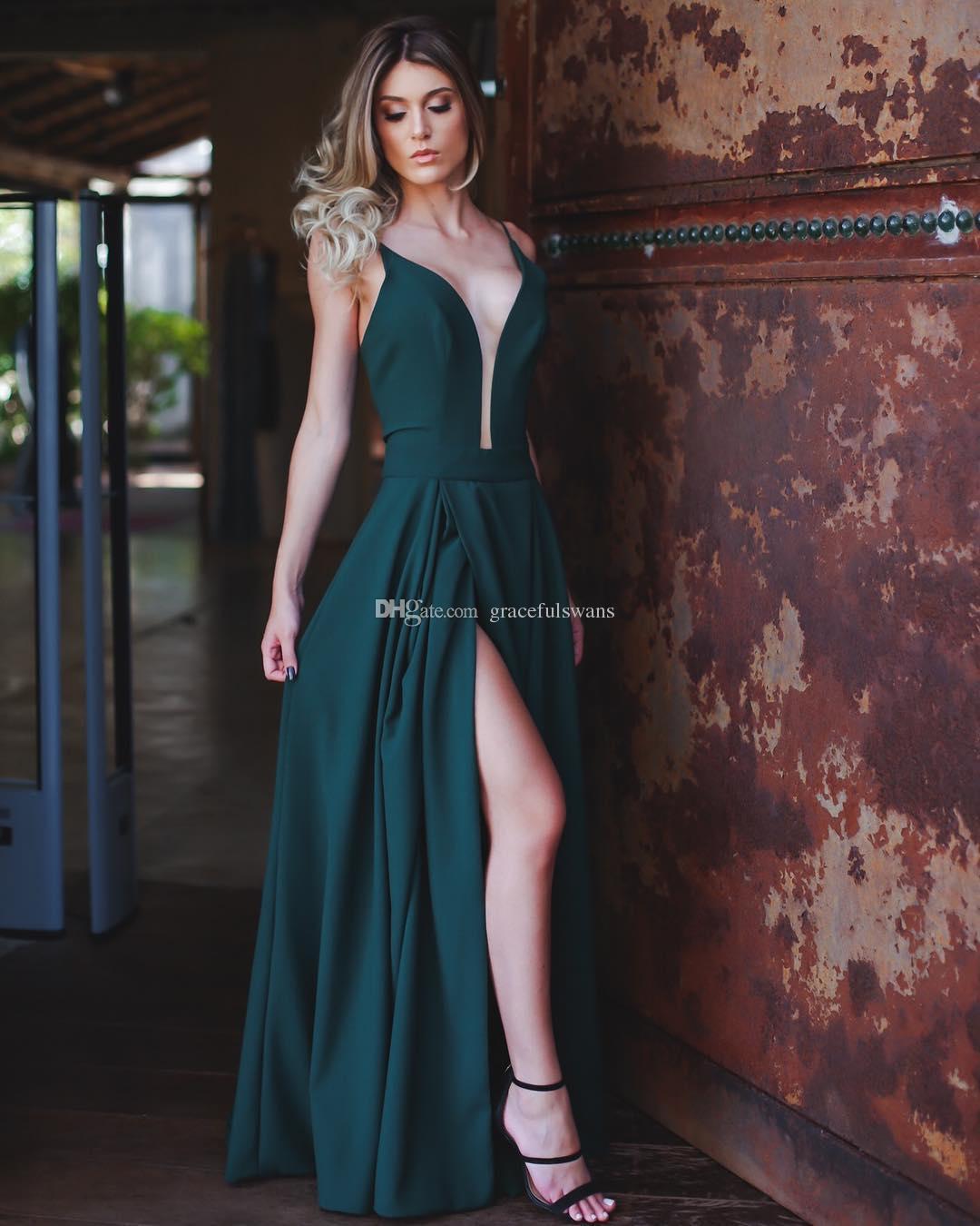 Jambe haute fentes robes de bal sexy 2019 robes en V devant robes formelles pour les filles soirée soirée bretelles spaghetti mousseline de soie robes de bal