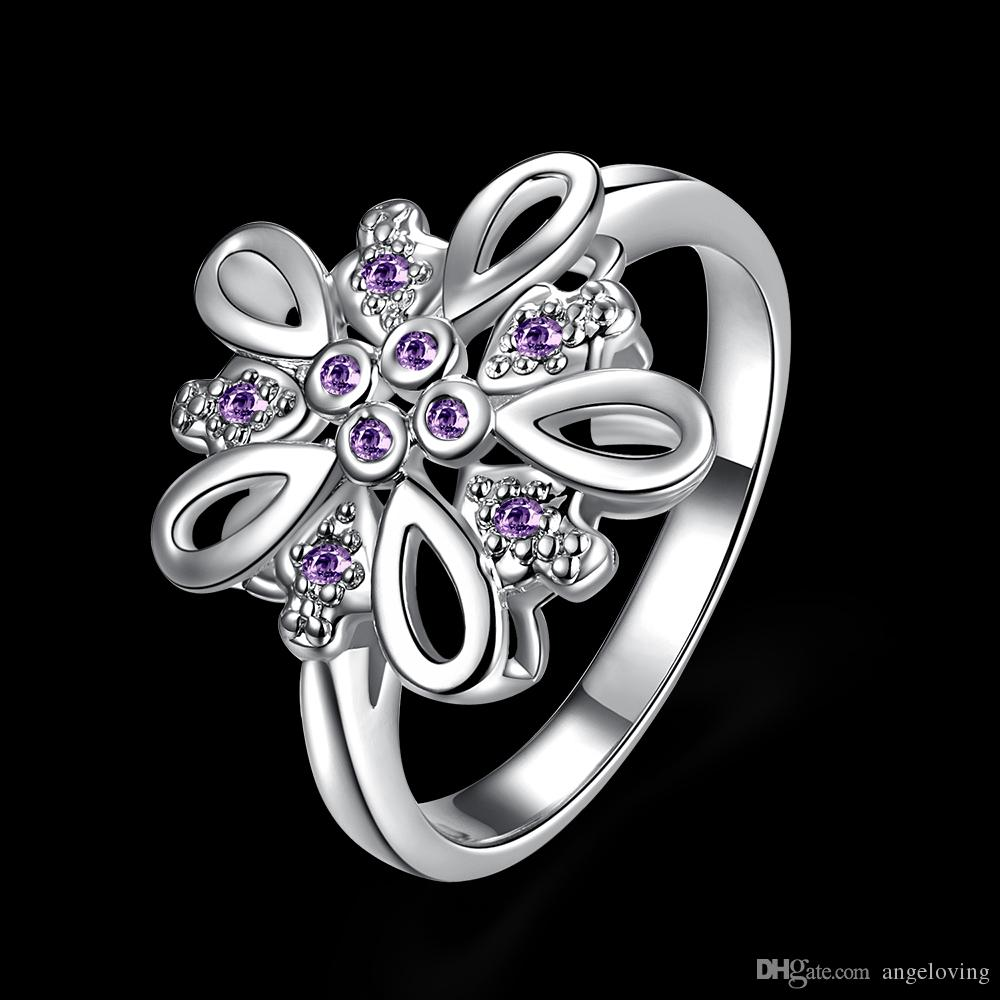 New arrival Gorgeous European 925 Sterling Silver Jewelry Natural Purple Cute Zircon with Austria Crystal Stones Rings For Women