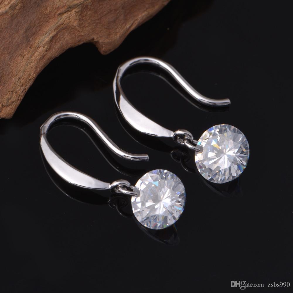 뜨거운 925 스털링 실버 CZ 다이아몬드 드롭 귀걸이 패션 쥬얼리 교전 여성을위한 무료 배송 좋은 품질