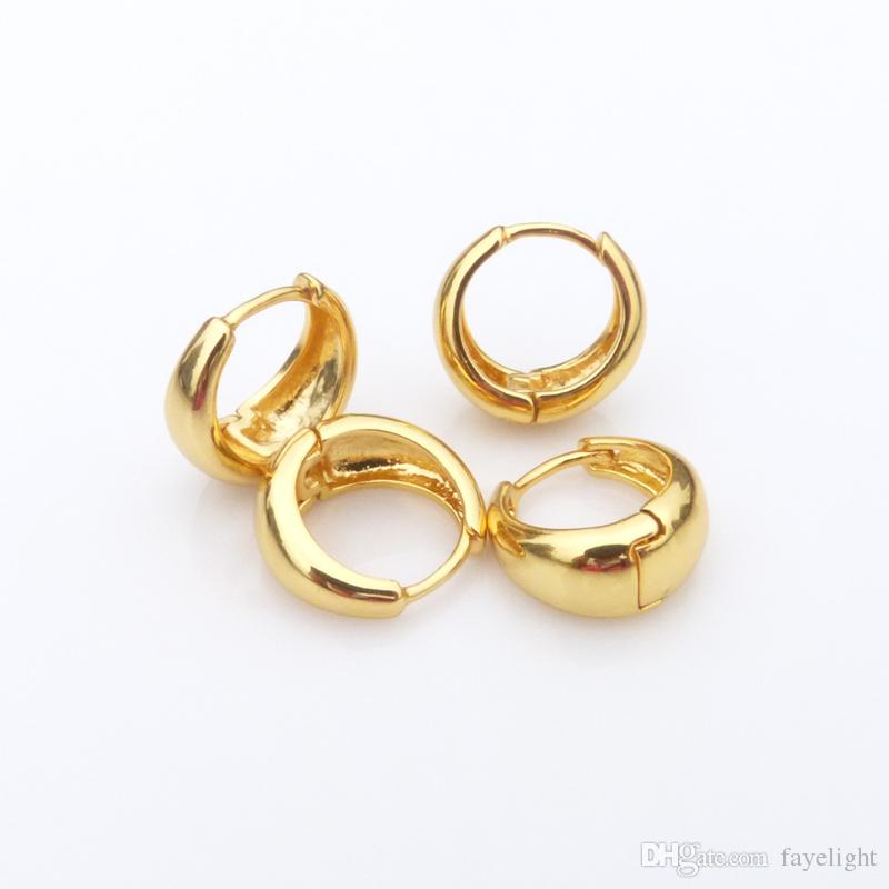 1655f81e55ad8 hoop earrings 24k yellow gold filled solid smooth earrings for women