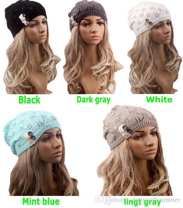 65abcba922d Winter Fashion Lady Winter Warm Knitted Beanies Girls Crochet Hat Warm Lace Beret  Skull Cap For Women Accessories Crochet Beanie Pattern Beard Beanie From ...