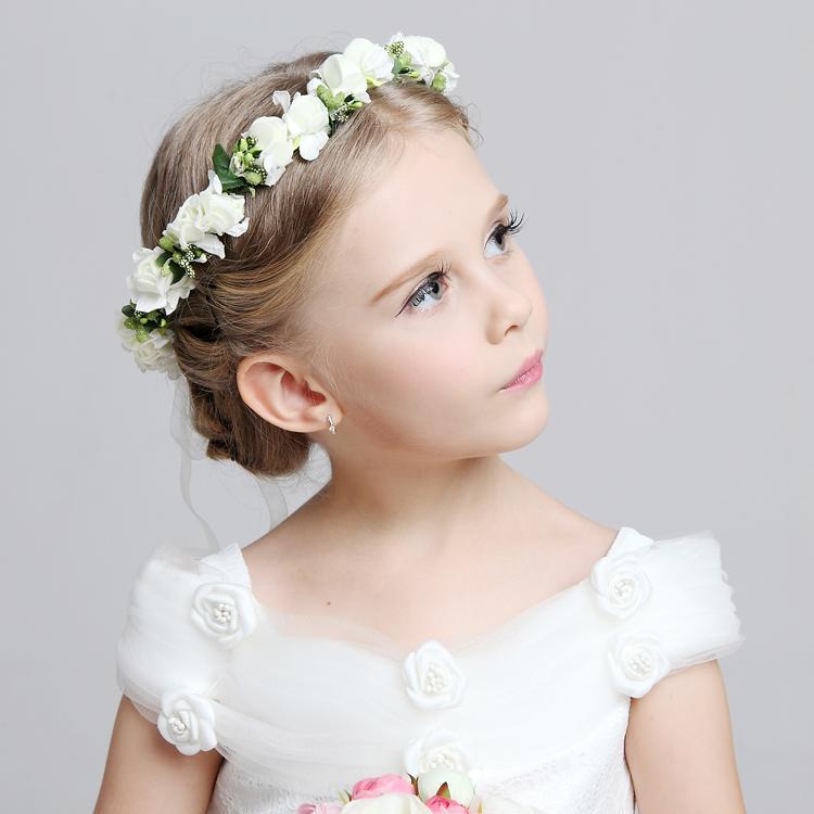 2016 Hot Wedding bridal girl head flower crown Headband Pink White rattan garland Hawaii flower One piece Headpieces Hair Accessories
