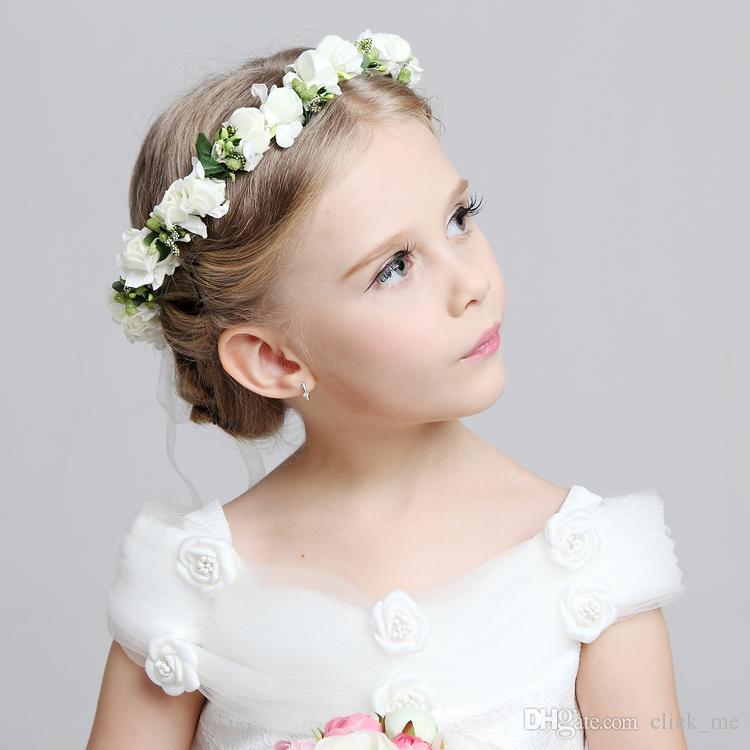 2016 حار زفاف العرسان فتاة رئيس زهرة تاج عقال الوردي الأبيض الروطان جارلاند هاواي زهرة قطعة واحدة أغطية الرأس اكسسوارات للشعر