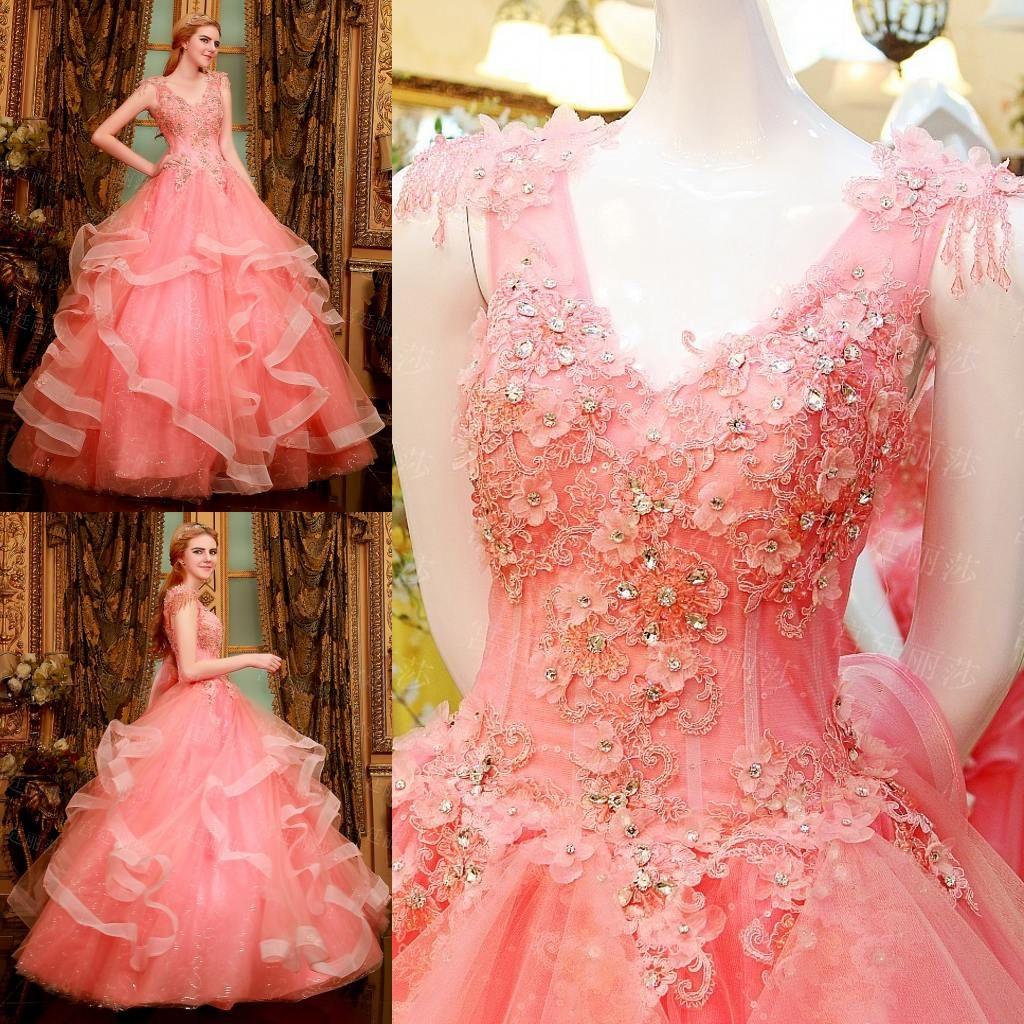 Compre 2015 Vestidos De Quinceanera V Cuello Con Cordones De Falda ...