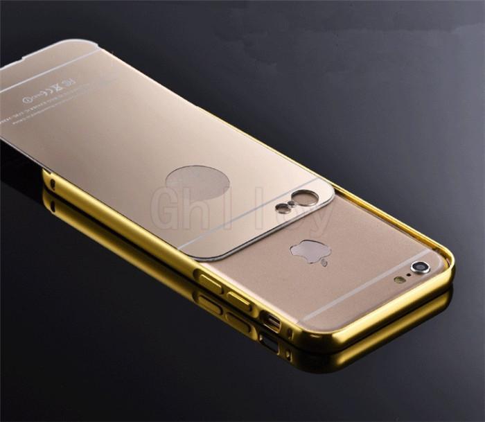 Роскошный Зеркальный Металлический Алюминиевый Бампер Рамка Чехол Для iPhone 6 6 S Plus 5.5 Гальваническая Акриловая Задняя Крышка 100 шт. Вверх