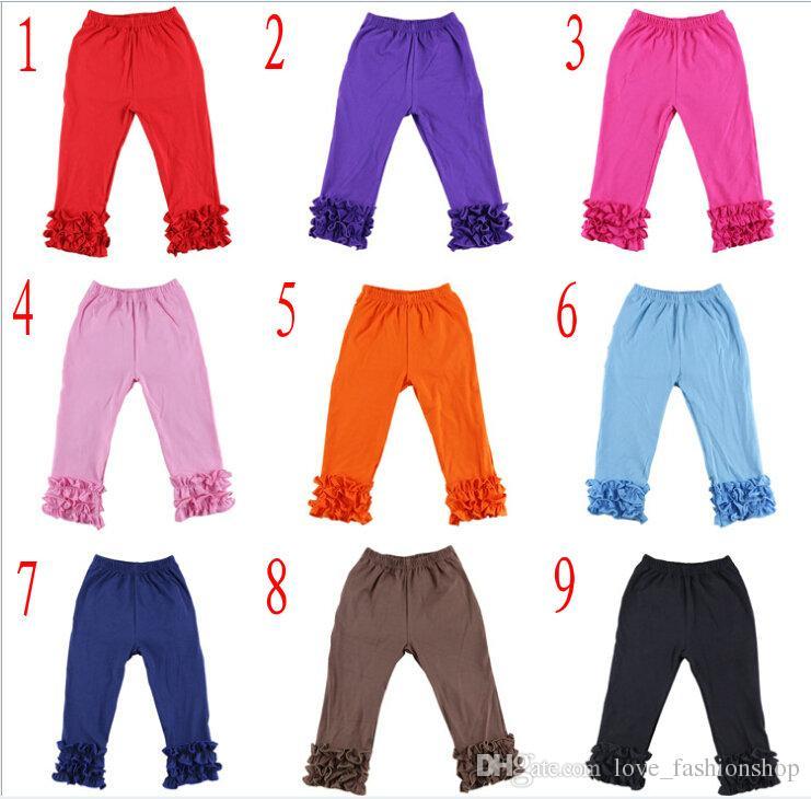 Meninas Algodão Ruffles Bebê Leggings Calças Apertado Crianças 1-7y Crianças Roupas Childrens Boutique Roupas Cosplay Legging Calças