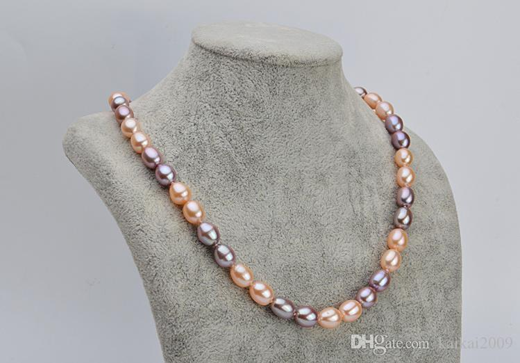 7-8 мм смешанный цвет натуральный рис в форме жемчужное ожерелье 18 дюймов ожерелья из бисера XL136- 2910