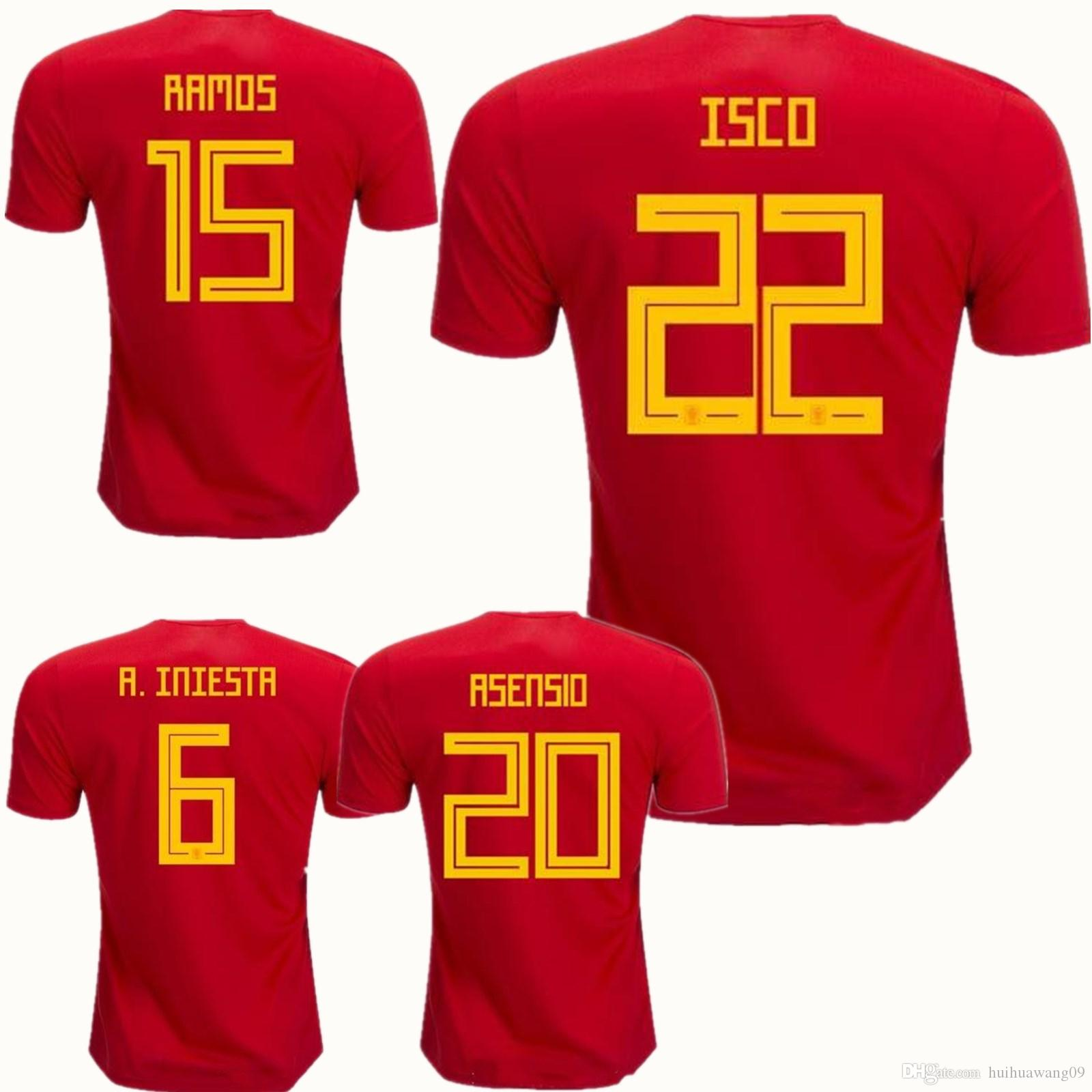 2018 World Cup Spain Soccer Jerseys Pique Romas A.iniesta Ramos ... 80b7179c0
