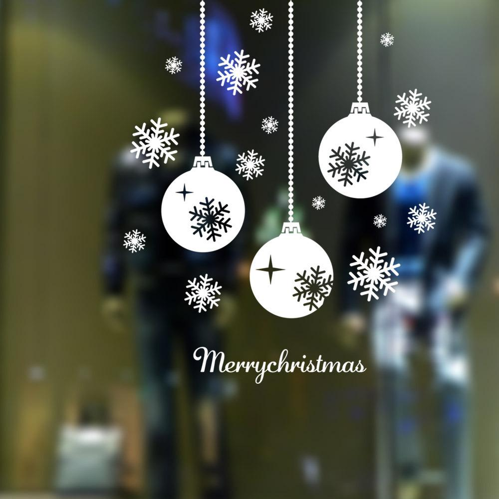 m 1 christmas decals snowflake lights windows decor removable snow lantern glass wall stickers adesivo de parede tree sticker for wall tree sticker wall art - Christmas Decals For Glass