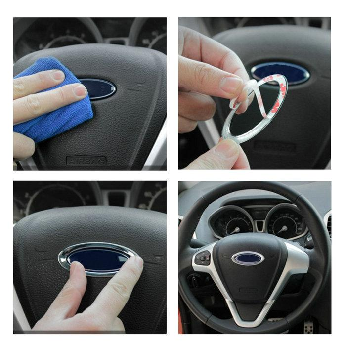 Steering Wheel Abs Chrome Trim Cover Logo Ring For Ford Fiesta ...
