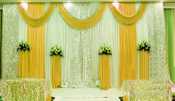 3M*6M Ice Silk Milk White Wedding Backdrop Curtains gold Swag With Silver Sequin Fabric For Wedding centerpieces Stage Celebration Favors