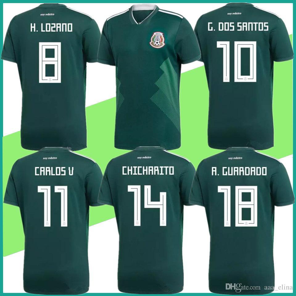 best cheap 4c07c e7002 Mexico Jersey 2018 World Cup Soccer Jerseys home away H.LOZANO G.DOS SANTOS  GUARDADO HERRERA CHICHARITO men football shirt uniform kit S-2XL