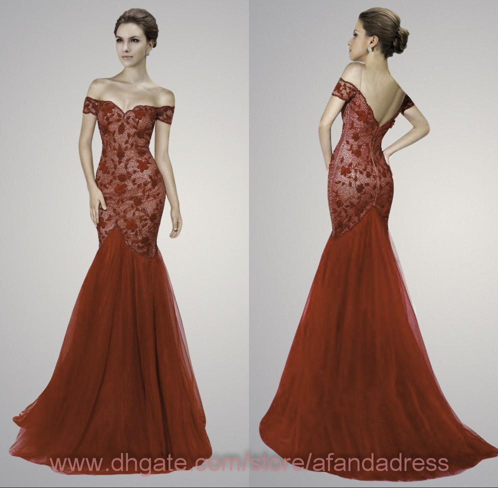 New Elegant Zuhair Murad Evening Dresses Sexy Red Tulle Off ...