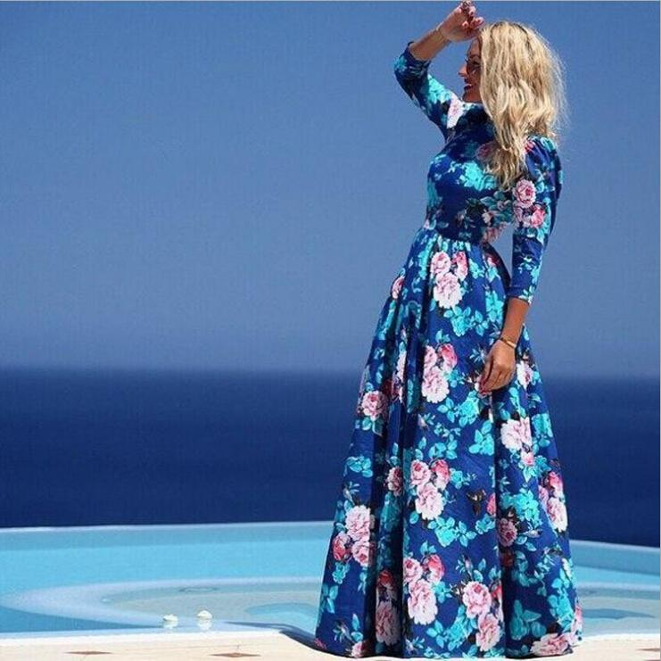2015 Fashion New Chiffon Maxi Dresses for Womens Summer Clothes Fall Round Neck Blue Floral Printed Dresses Women bohemian Casual dresses xl