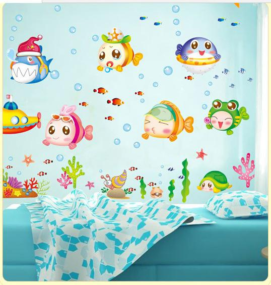 cartoon chinese blue ocean fish wall stickers home decor 3d wall sticker for kids rooms child room diy stickers heart wall stickers home art wall decals