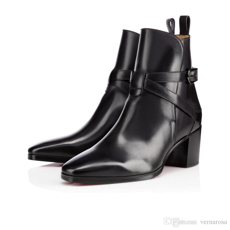Outono / Inverno Plana Vermelho Inferior Ankle Boots Para Os Homens Toe Quadrado de Alta Qualidade 2017 Mulheres Designer de Lazer Formadores Calçado Booties Tamanho 35-46