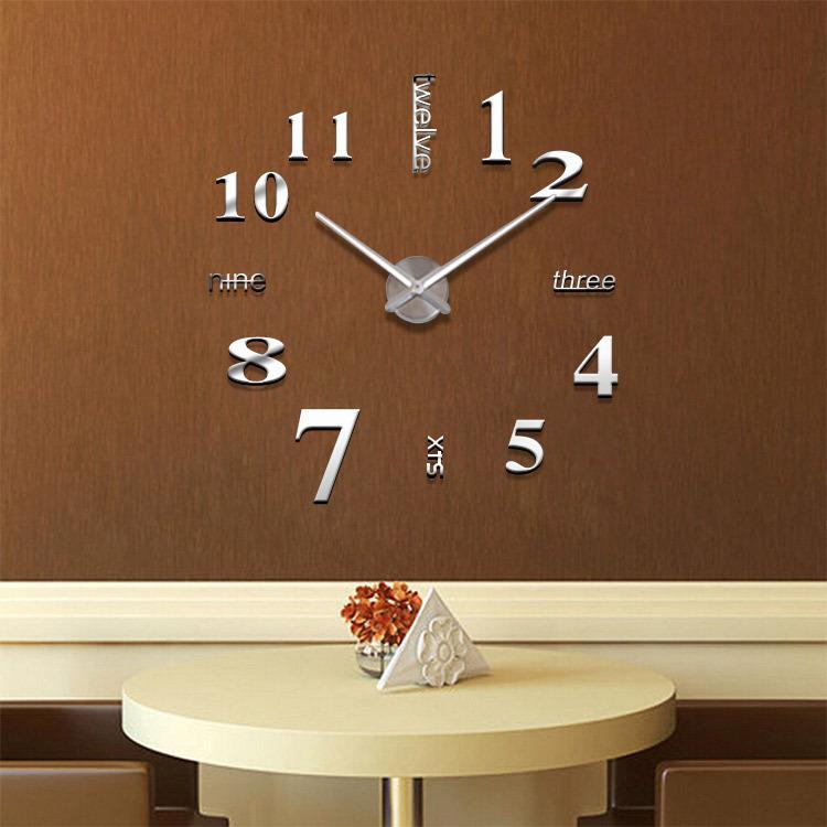 الإبداعية DIY 3D ملصق ساعة الحائط حجم كبير الفنون ساعات الحائط الاكريليك غرامة لون عشوائي الفضة 0201001