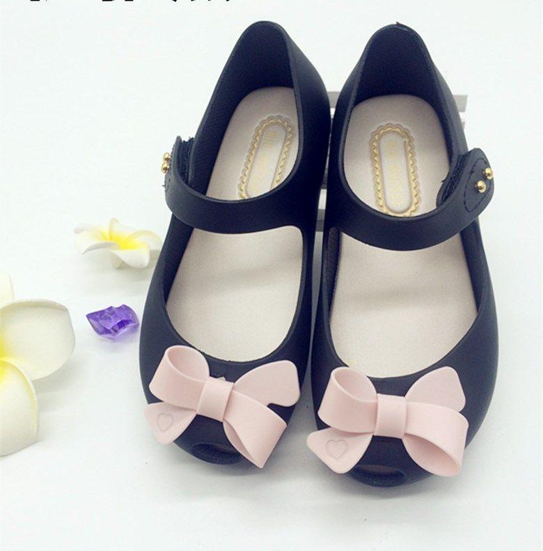 여름 아기 신발 키즈 소녀 샌들 스위트 보우 플랫 플라스틱 샌들 어린이 신발 젤리 신발 소프트 단독