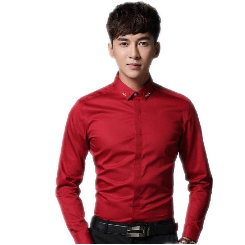 Newest Men\'s Dress Shirts Pure Color Man\'s Wedding Shirt Slim It ...