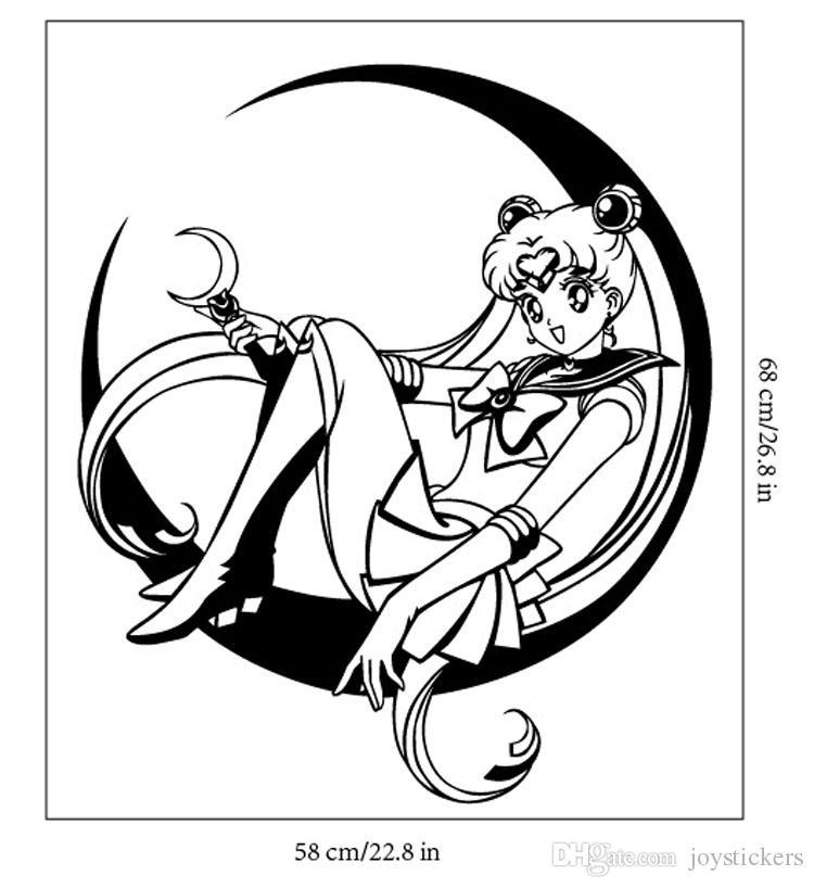 Decalque Removível Home Decor Decalque Do Vinil Dos Desenhos Animados Sailor Moon Sentado Na Lua Quarto de Bebê Anime Adesivo de Parede Papel De Parede Adesivo