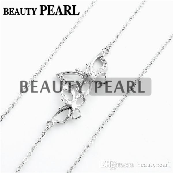 Necklace Blank for Pearls Two Butterfly 925 Sterling Silver Chain Base with 2 Blanks