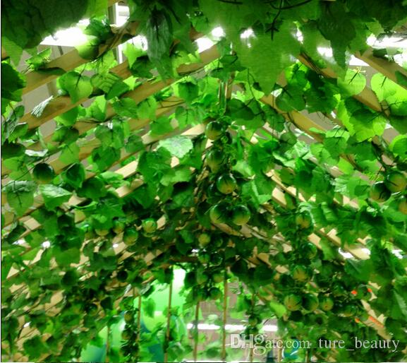 15% off sale like real artificial Silk grape leaf garland faux vine Ivy Indoor/outdoor home decor wedding flower green christmas gift