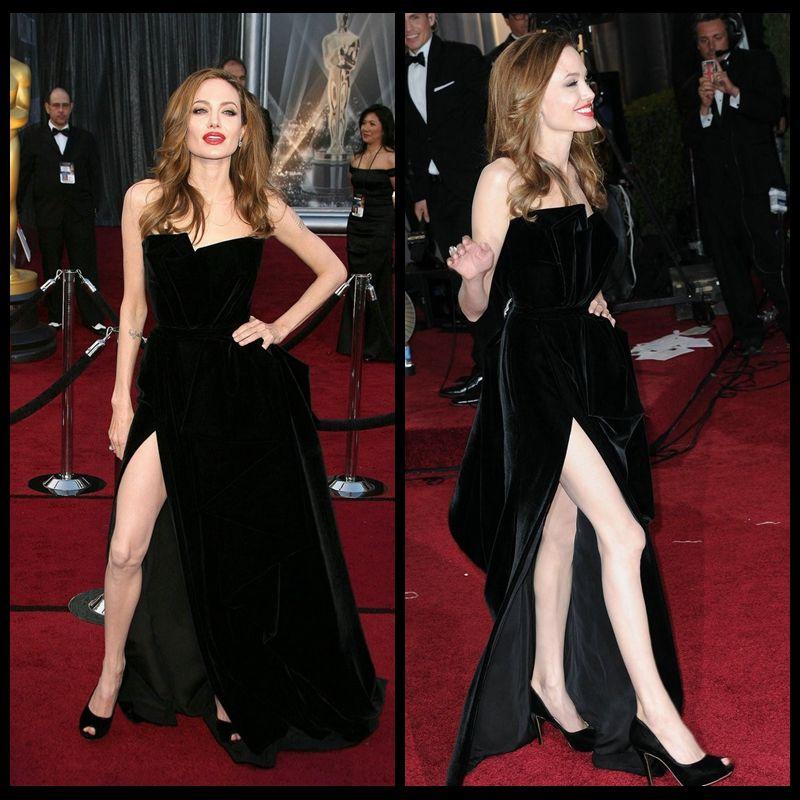 Angelina Jolie Red Carpet Dress Sexy Black Celebrity Gown Side Split Party Dress 2016