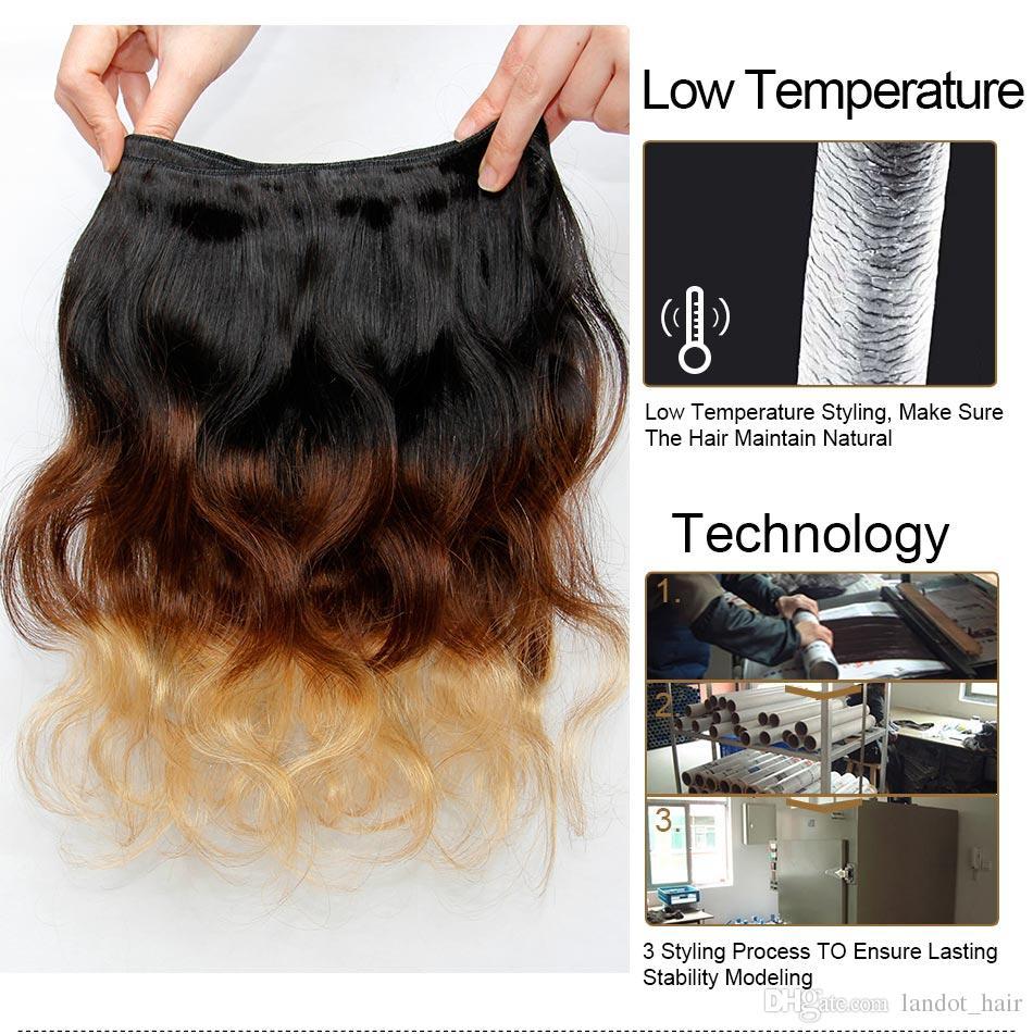 Ombre Human Hair Extensions Virgin Brazilian Peruvian Malaysian Indian Body Wave 3 Three Tone Brown Blonde 1B/4/27# Ombre Hair Weave Bundles
