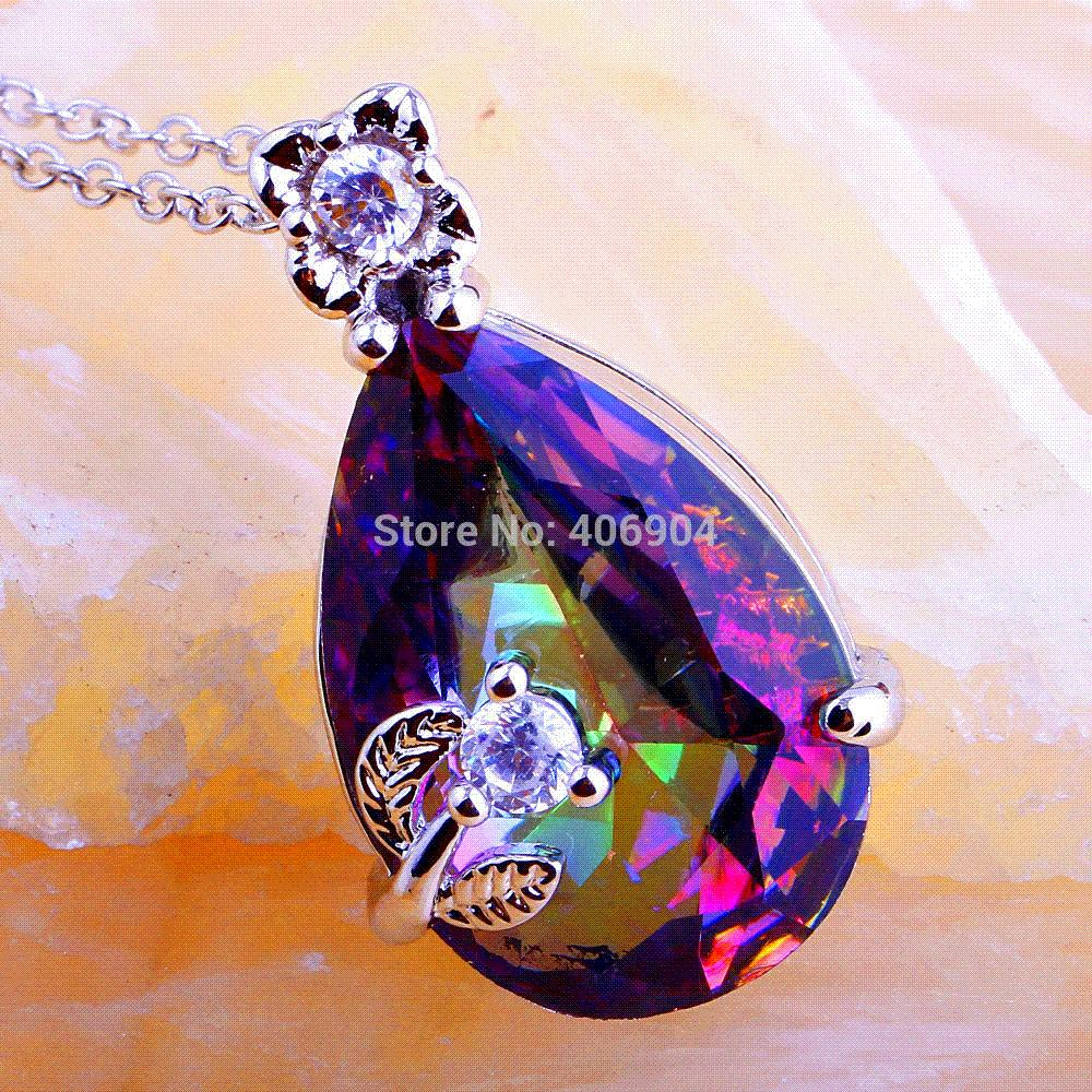 Wholesale Water-drop Pear Cut Mysterious Rainbow Topaz & White Topaz 925 Free Silver Chain Necklace Pendant Jewelry For Women