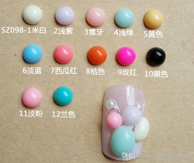 2015 nuovo consiglia stile resina Nail Art 12 opzionale suggerimenti colorato ovale resina unghie decorazione Nail Art 3d Nail Art