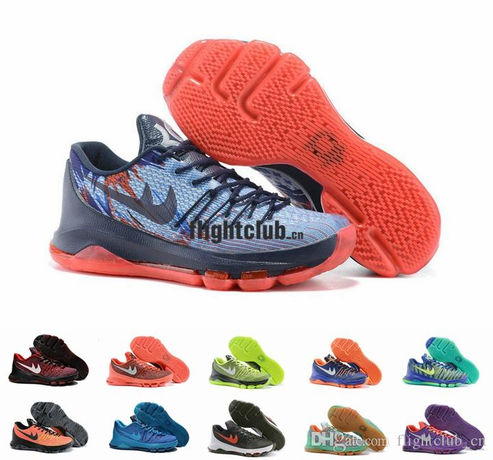 best service ab2bf 8a490 Kevin Durant KD 8 Basketball Shoes For Men V8 Bright Crimson Hyper Cobalt  Hunts Hill Sunrise USA KD8 Sports Shoes Size 7 12 Shoes Jordans Sneakers On  Sale ...