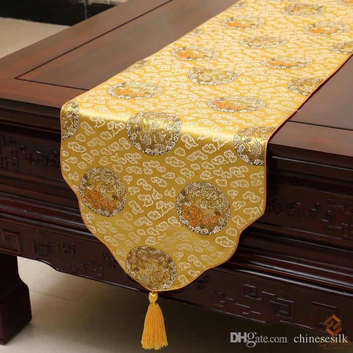 Chinese Ethnic Style Table Runners Classical Rustic Luxury Damask