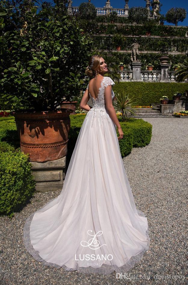 Скромная линия свадебные платья 2018 года новый V-образным вырезом кружева короткие крышки рукава свадебные платья на заказ Vestidos de Novia