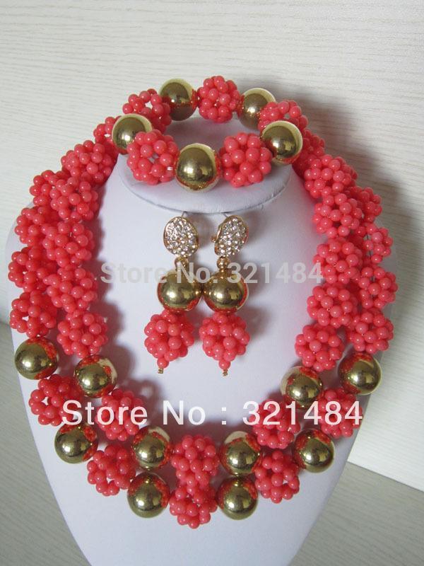 Buy New Top Design!!! Nigerian African Wedding Beads Pink Coral ...