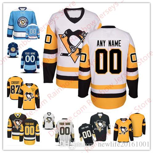new style 58339 74638 Custom Pittsburgh Penguins Hockey Jerseys Old Brand 2017 Champions Black  White Third Winter Classic Gold Stadium Series 50th 100th Patch