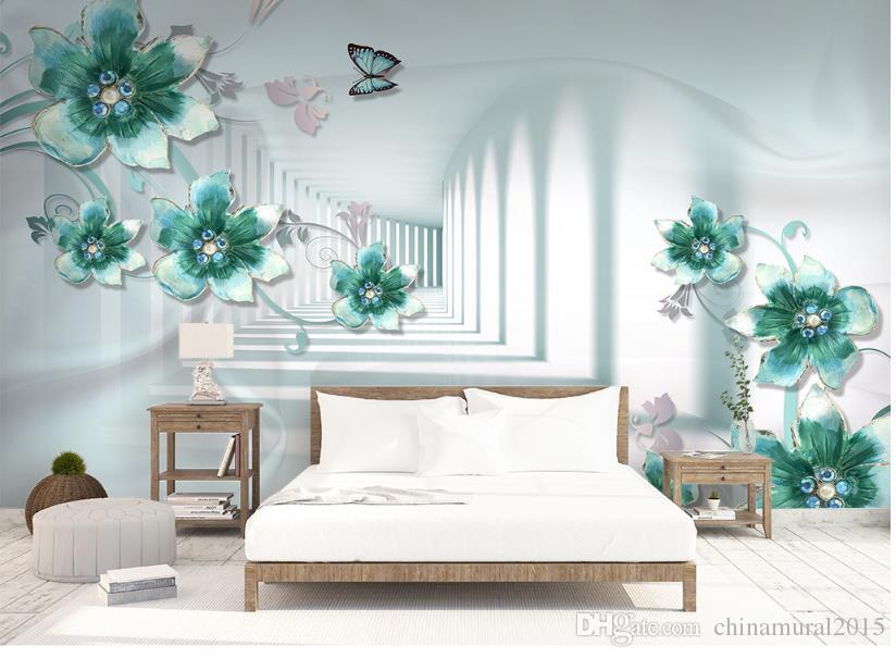 Fondo de pantalla personalizado para paredes 3 d para sala de estar Flores tridimensionales mural de paisaje 3d wallpaper-roll-size