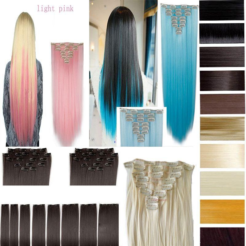26 66cm 170g straight full head clip in hair extensions color hair 26 66cm 170g straight full head clip in hair extensions color hair blue purple pink blonde brown gray synthetic hair black and red hair extensions hair pmusecretfo Images