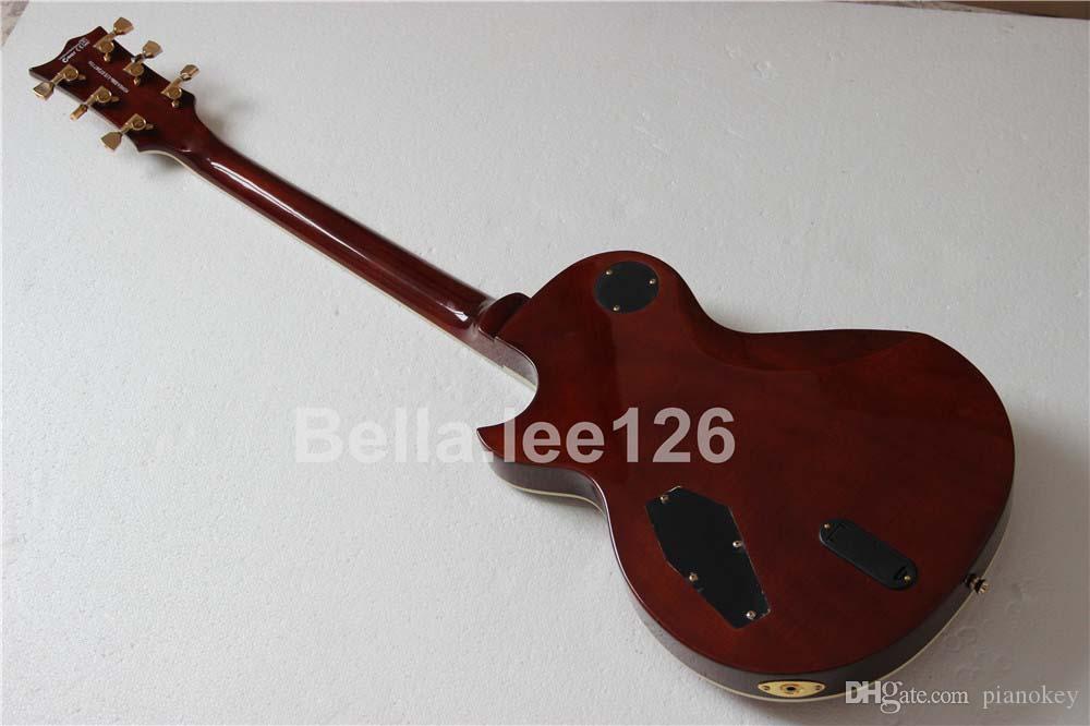 무료 배송 OEM Deluxe 일렉트릭 기타, 12 프렛 맞춤 서명, 전복 속지, 활성 픽업 기타, 무료 배송