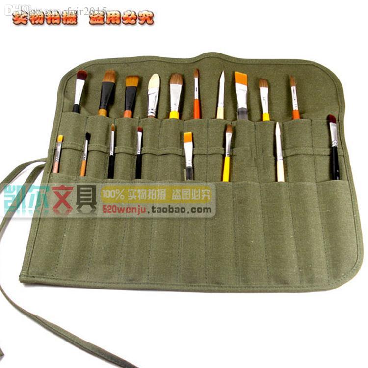Wholesale Portable Canvas Painting Pencil Case Pen Bag Calligraphy Brush Roll  Storage Bag Pen Curtain Paint Brush Bag Tablet Brush Pan Cheap Pencil Cases  ...