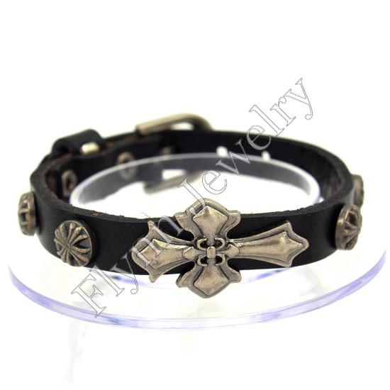 Hot Sale European Cross and Buttons Adjustable Leather Charm Bracelet Bangle Punk Rock Decorations Amulet Jewelry