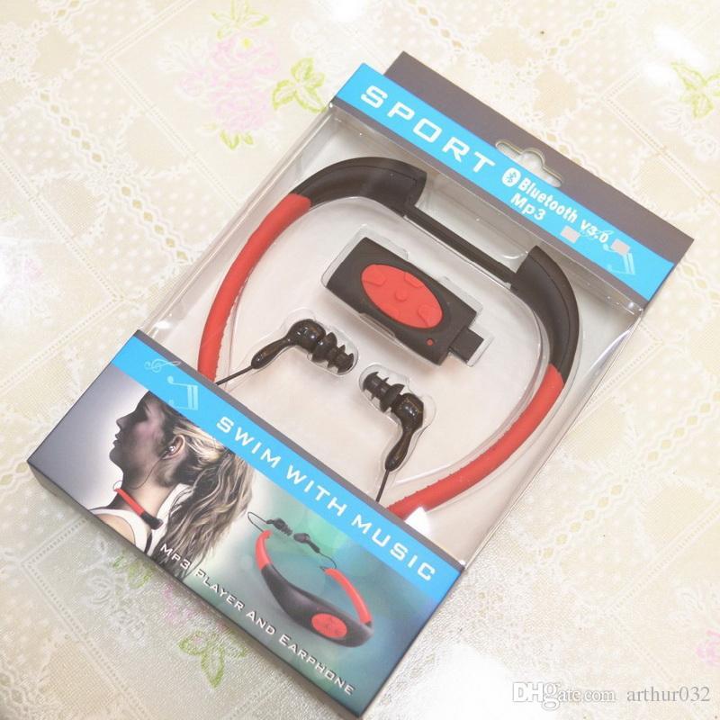 8GB IPX8 Водонепроницаемый MP3-плеер под водой Плавание Серфинг Дайвинг Шейный ободок Спорт Стерео Наушники Гарнитура Наушники Handsfree FM-радио