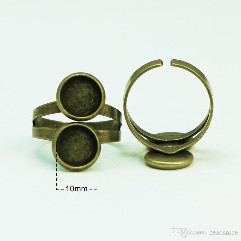 Beadsnice double ring base for jewelry making antique brass adjustable ring blanks ring bases with two 10mm round bezel trays ID 29355
