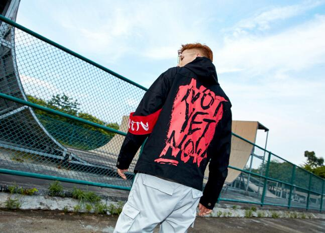 Hip Hop Clothing Jacket for Men Winter Casual Loose Letters Printed Armband Design Hooded Autumn Jacket Coat for Male