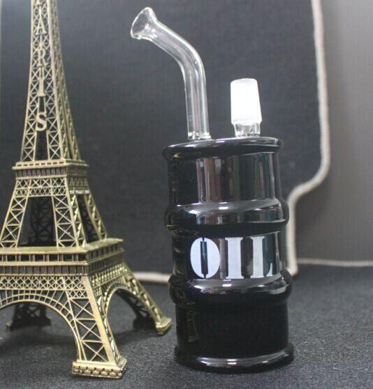 wholesale cheapest Oil Drum Glass Bong Oil Rig Recycle Glass Water Pipe With 14.4MM joint black clear Hookahs
