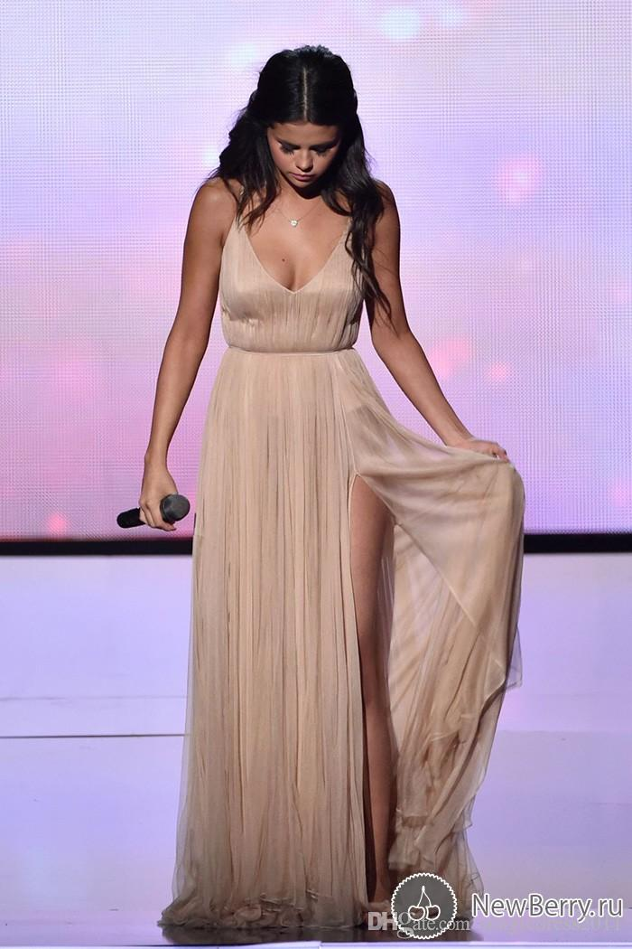 Long Champagne Prom Party Dresses with Backless A-Line V-Neck High Split Formal Celebrity Dress for Selena Gomez American Music Awards