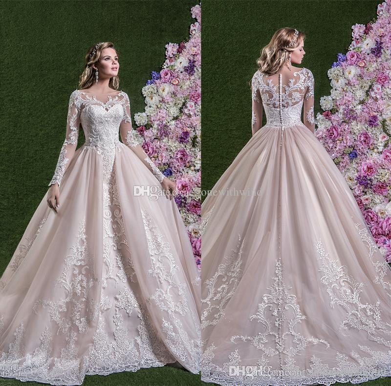 Pink Ball Gown Long Sleeves Wedding Dresses 2018 Amelia Sposa Bridal ...