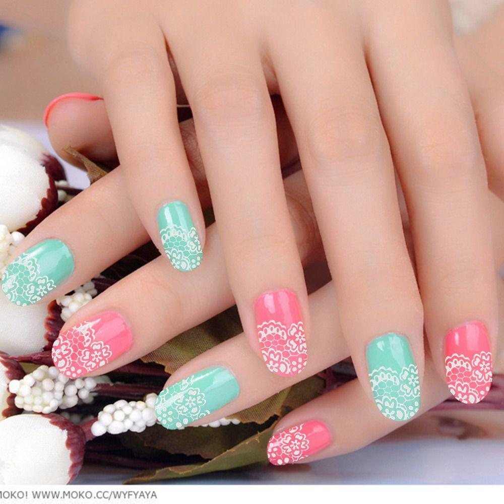 Stickers decals nail stickers nail art decals fashion - New Arrival Fashion 3d Nail Art Lace Nail Stickers Decals Multicolor Transfers White Silver Flowers Rhinestone Nails Sticker Design Nails Fingernail Designs